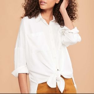 Lou & Grey Twill Tie Front Shirt